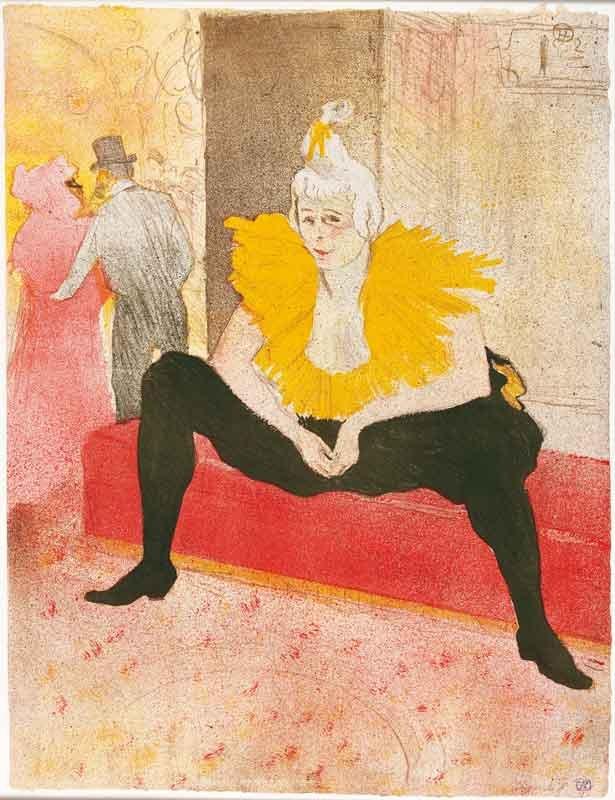 13. Henri de Toulouse-Lautrec, La clownesse assise, Mademoiselle Cha-U-Kao, 1896, litografia, tavola 1 della serie Elles, Bibliothèque Nationale de France, Parigi