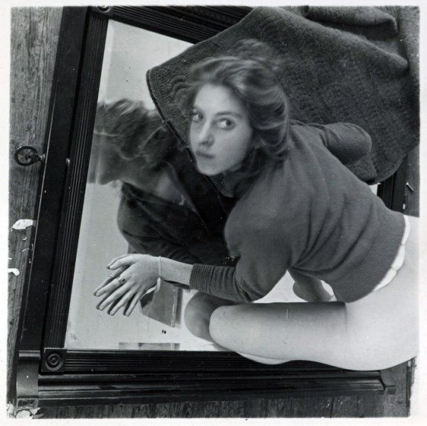 Francesca Woodman - Glass copy frame holding photo flat - colour patches only a guidephotograph area