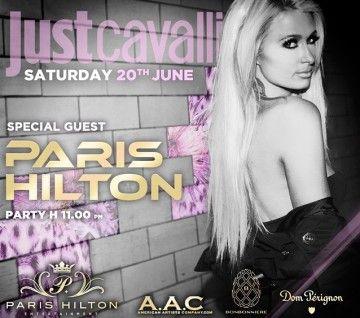 Paris Hilton in consolle al Just Cavalli