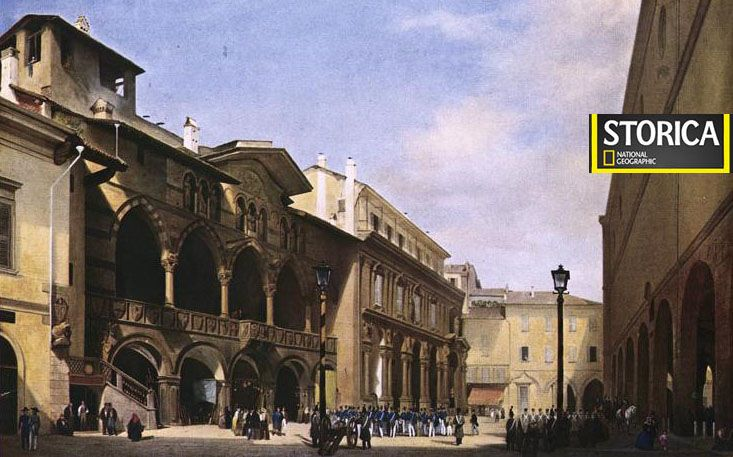 Milano-Piazza Mercanti (Olio su tela di Luigi Bisi) - [credits Milano sparita da ricordare]