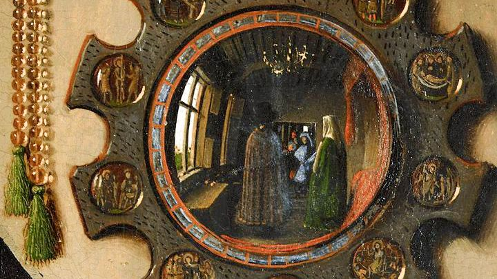 Van Eyck - Ritratto dei coniugi Arnolfini (particolare) - [Public domain] via Wikimedia Commons