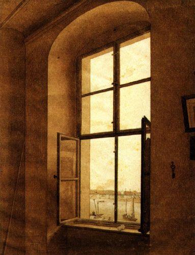 Caspar David Friedrich - Veduta dalla finestra sinistra dell'atelier