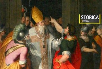 Onorio e Maria - Il vescovo Ambrogio impedisce all'imperatore Teodosio I di entrare nella basilica dopo la strage di Tessalonica. Olio su tela di Camillo Procaccini. [credits Giovanni Dall'Orto]