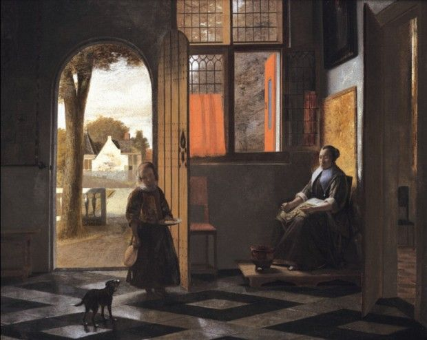 Pieter de Hooch - Donna seduta vicino alla finestra con bambina sulla soglia, 1680 circa – Johnny Van Haeften Ltd, Londra.
