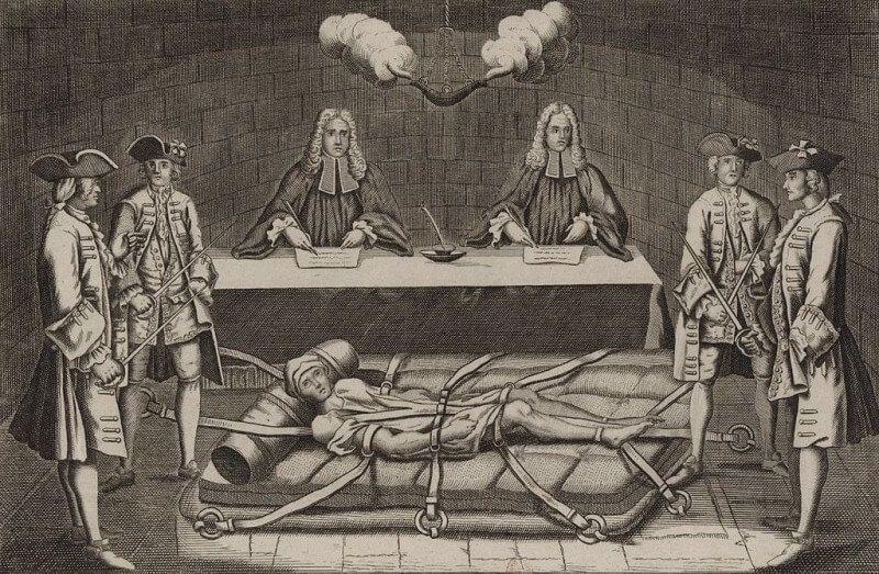 Robert François Damiens davanti ai giudici (By French School, (18th century) (Bibliothèque nationale de France) [Public domain], via Wikimedia Commons)