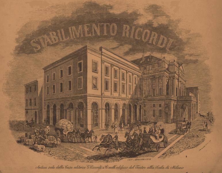 Antica sede della casa editrice musicale Ricordi vicino alla Scala [Public domain], via Wikimedia Commons)