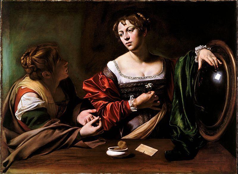 Caravaggio, Conversione della Maddalena, (c.1599) - [Public domain], via Wikimedia Commons