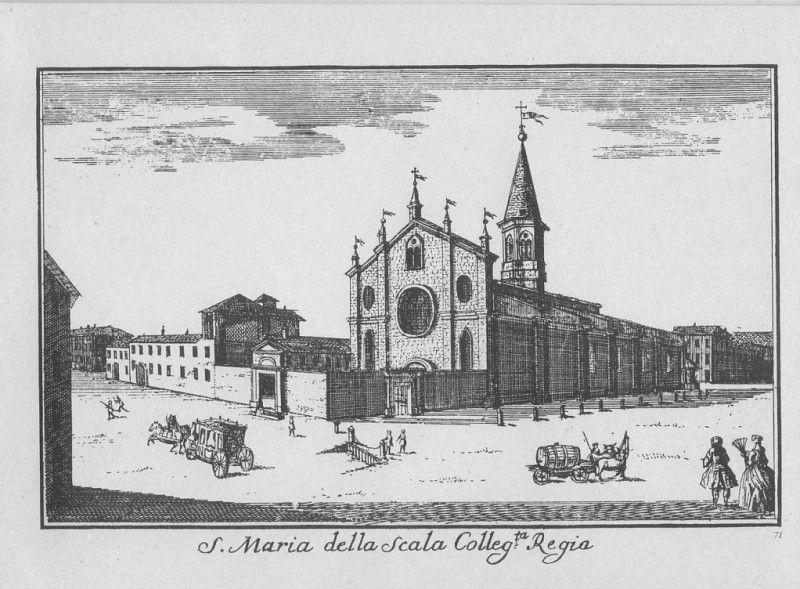 Chiesa di Santa Maria alla Scala, demolita nel 1788 per costruire il teatro. Marc'Antonio Dal Re, Vedute di Milano, 1745 ca. [Public domain, via Wikimedia Commons]