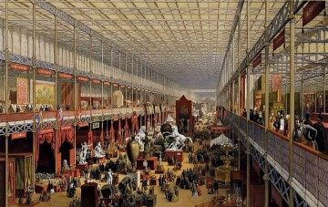 EXPO 1851 - Crystal Palace, interno [McNeven, J., The Foreign Department, viewed towards the transept, coloured lithograph, 1851] (Wikimedia Commons)
