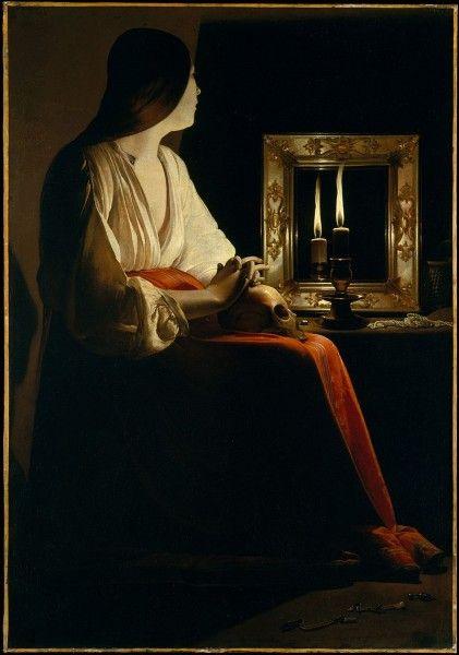 Georges de La Tour, Maddalena penitente (o Maddalena allo specchio), tra 1639 e 1643 - [Public domain], via Wikimedia Commons
