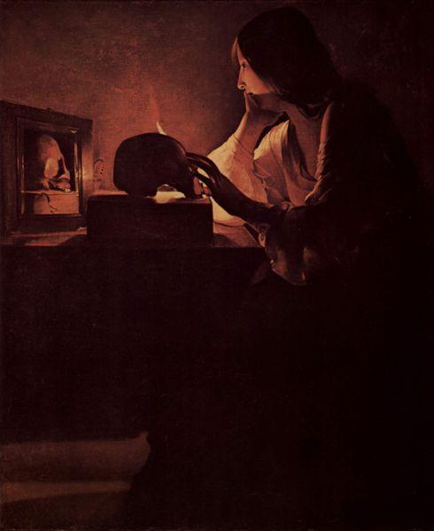Georges de La Tour, Maria Maddalena penitente, 1635 - [Public domain], via Wikimedia Commons
