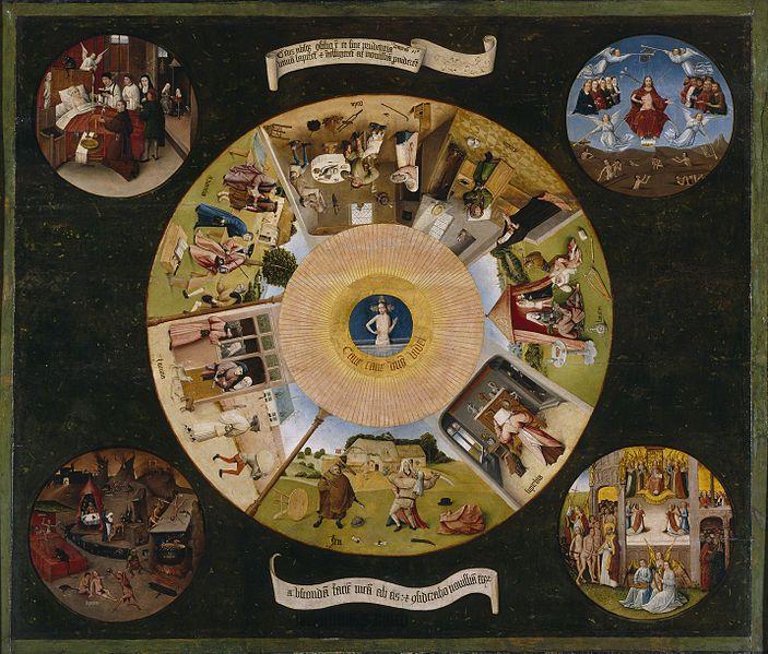 Hieronymus Bosch, I sette peccati capitali, 1500-1525 - [Public domain], via Wikimedia Commons