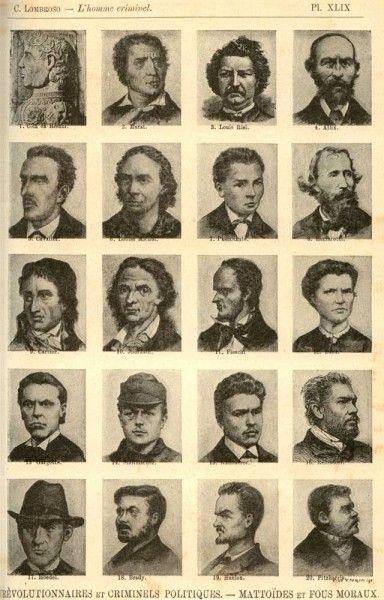 Esempi di fisiognomica secondo Lombroso (wikimedia commons)