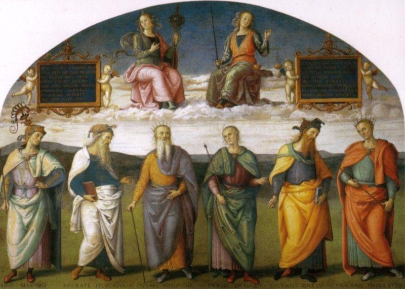Pietro Vannucci, detto il Perugino, Prudenza e Giustizia con sei savi antichi, 1497 - [Public domain], via Wikimedia Commons