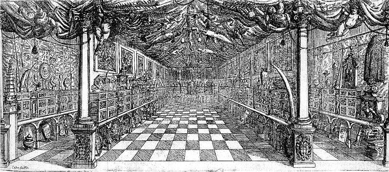 Cesare Fiori, incisione raffigurante il museo Settala (public domain, via Wikimedia Commons)