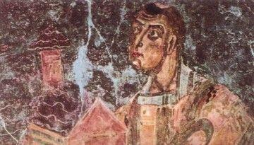 ARIBERTO: AMBIZIONE E VOLONTÀ - Ariberto da Intimiano offre il modello della chiesa. Galliano (Cantù), abside della chiesa di S. Vincenzo (foto di Mauro Lunardi, public domain, via Wikimedia Commons)