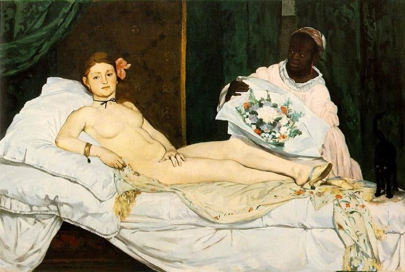 Édouard Manet, Olympia, 1863, Museo d'Orsay – Public Domain via Wikimedia Commons