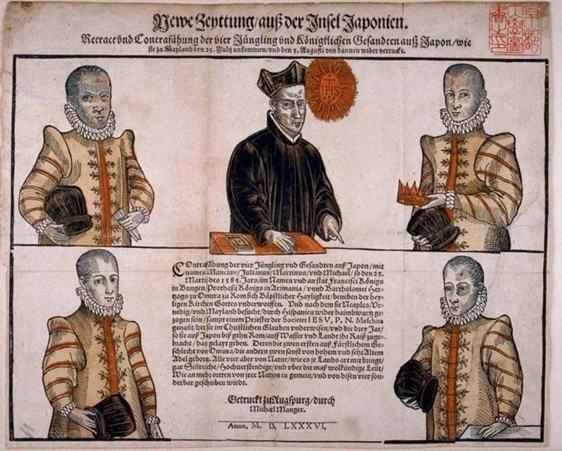La delegazione giapponese inviata in Europa nel 1582. In alto da sinistra: Giuliano Nakaura, Diogo de Mesquita, Mancio Ito; in basso da sinistra: Martino Hara e Michele Chijiwa (Public domain, via Wikimedia Commons).