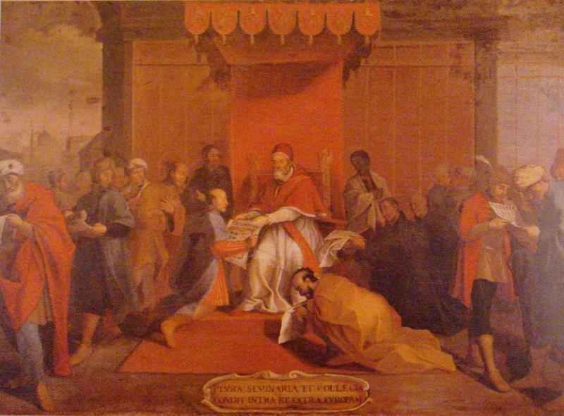 L'ambasceria giapponese viene ricevuta da papa Gregorio XIII. Dipinto del 1655 (Public domain, via Wikimedia Commons).