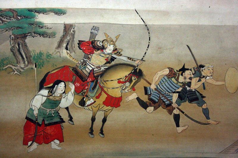Illustrazione giapponese del XVI secolo dove si può vedere un nobile guerriero con la tipica armatura (Public domain, via Wikimedia Commons).