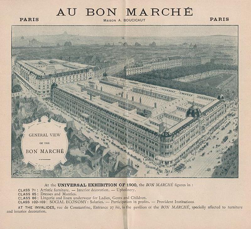 Veduta dei Grandi Magazzini parigini Au Bon Marché (public domain, via Wikimedia Commons).