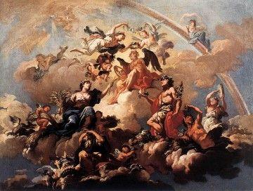 Certezze della vita moderna - Bartolomeo Altomonte, Le quattro stagioni rendono omaggio a Crono, il Tempo, 1737 (Public domain, via Wikimedia Commons)