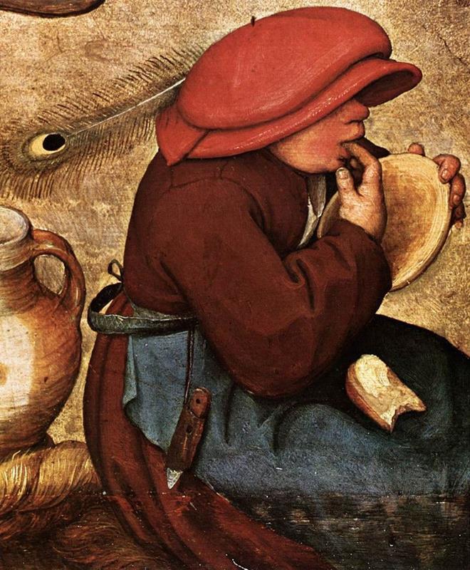 Pieter Bruegel il Vecchio, Banchetto nuziale (particolare), 1568 ca. (Public domain, via Wikimedia Commons)