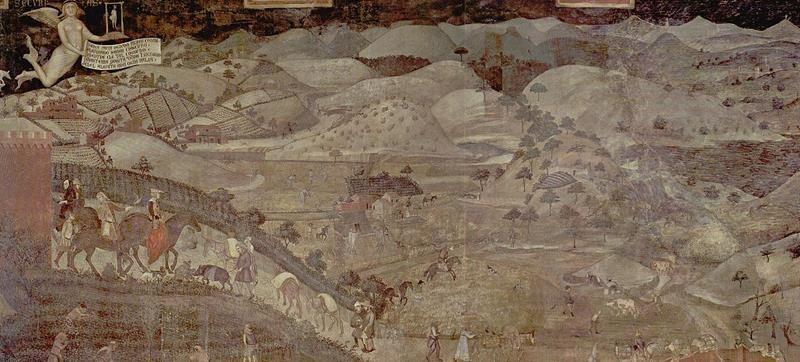 Ambrogio Lorenzetti, Effetti del Buon Governo in campagna, 1338-1339, Sala della Pace, Palazzo Pubblico, Siena - Public Domain via Wikipedia Commons