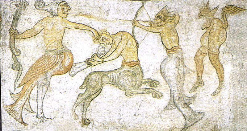 Combattimento di figure mostruose, chiesa di San Jacopo, Termeno (BZ) - Public Domain via Wikipedia Commons