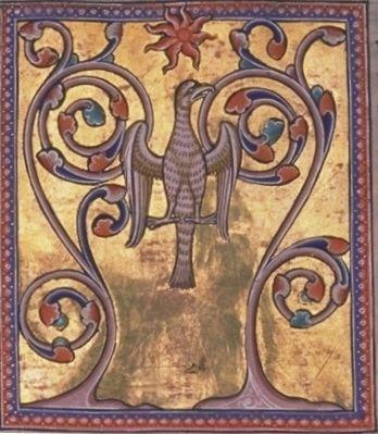 Folio 55 verso - Fenice (Fenix) mentre rinasce dalle proprie ceneri.