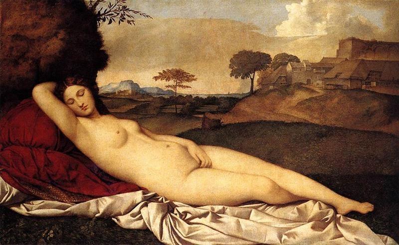 Giorgione, Venere dormiente, 1510, Gemäldegalerie Alte Meister - Public Domain viaWikimedia Commons