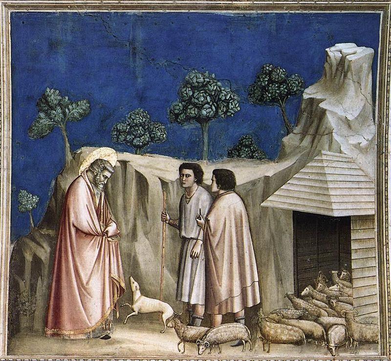 Giotto di Bondone, Ritiro di Gioacchino tra i pastori, 1303-05 circa, Cappella degli Scrovegni, Padova - Public Domain via Wikipedia commons