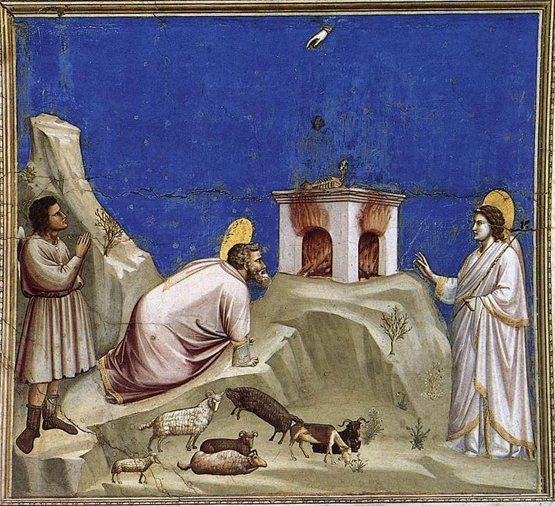Giotto di Bondone, Sacrificio di Gioacchino, 1303-05 circa, Cappella degli Scrovegni, Padova - Public Domain via Wikipedia commons