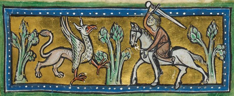 Griffin - detail of a miniature from the Rochester Bestiary, BL Royal 12 F xiii