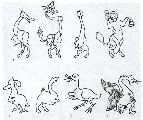 Grilli. Illustrazione da Baltrusaitis J., Medioevo fantastico.