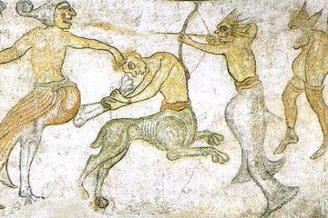 I MOSTRI DEL MEDIOEVO - Combattimento di figure mostruose, chiesa di San Jacopo, Termeno (BZ) - Public Domain via Wikipedia Commons