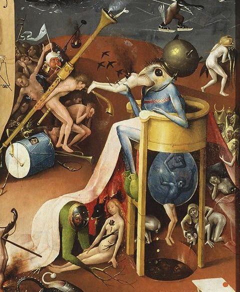 Il Giardino delle delizie, particolare del pannello di destra, Il Principe dell'Inferno - Public Domain via Wikipedia Commons