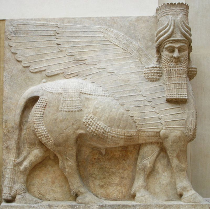 Lamassu assiro, 721 a.C - Public Domain via Wikipedia Commons