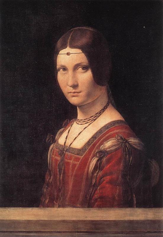 Leonardo da Vinci, La belle Ferronnière, 1490-95, Museo del Louvre - Public Domain via Wikimedia Commons