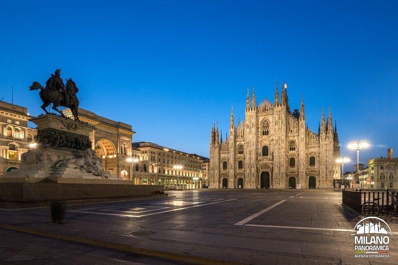 Monumento a Vittorio Emanuele II e il Duomo all'alba (credits Milano Panoramica)
