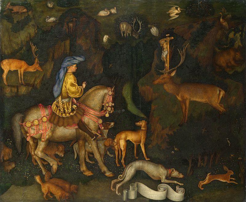 Pisanello - La Visione di Sant'Eustachio (1436-1438), National Gallery, Londra - Public Domain via wikipedia commons
