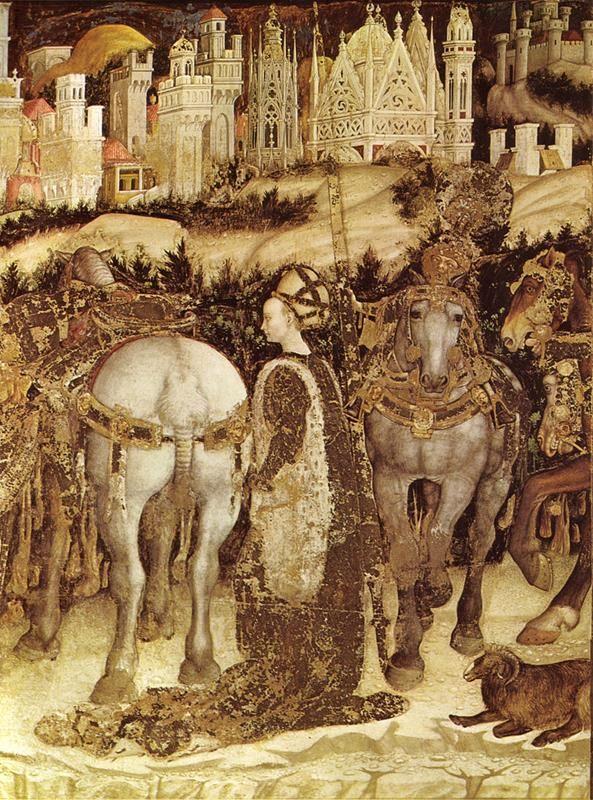 Pisanello - San Giorgio e la principessa (dettaglio, 1436-1438 circa), chiesa di Sant'Anastasia, Verona - Public Domain via Wikimedia commons