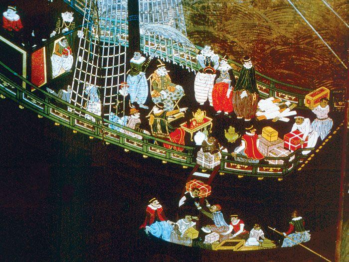 Commercianti portoghesi sbarcano in Giappone (XVI secolo; public domain, via Wikimedia Commons)