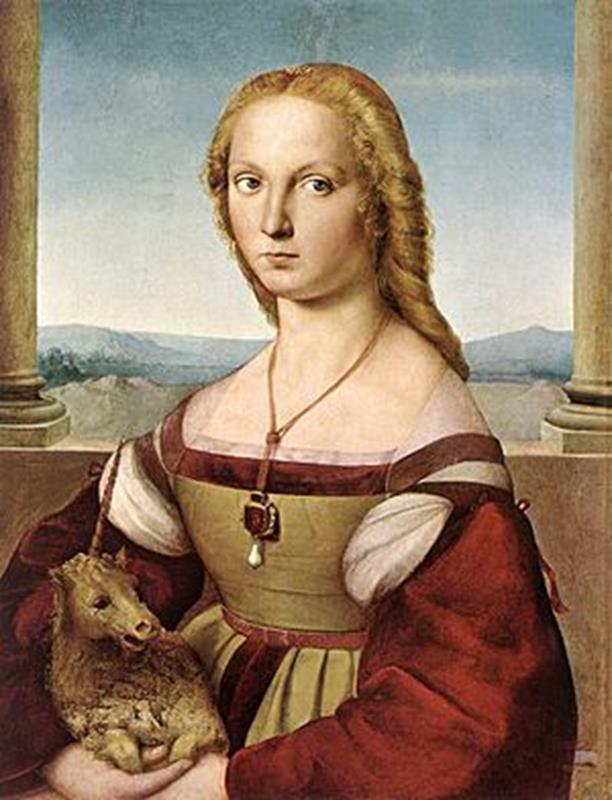 Raffaello Sanzio, La dama con liocorno, 1505-1507, Galleria Borghese, Roma - Public Domain via Wikimedia Commons
