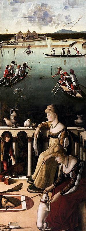 Ricomposizione dell'opera originaria (Le due Dame + Caccia in valle) - Public Domain via Wikimedia Commons
