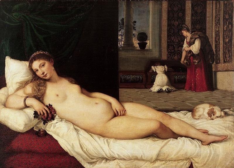 Tiziano Vecellio, Venere d'Urbino, 1538, Galleria degli Uffizi - Public Domain via Wikimedia Commons