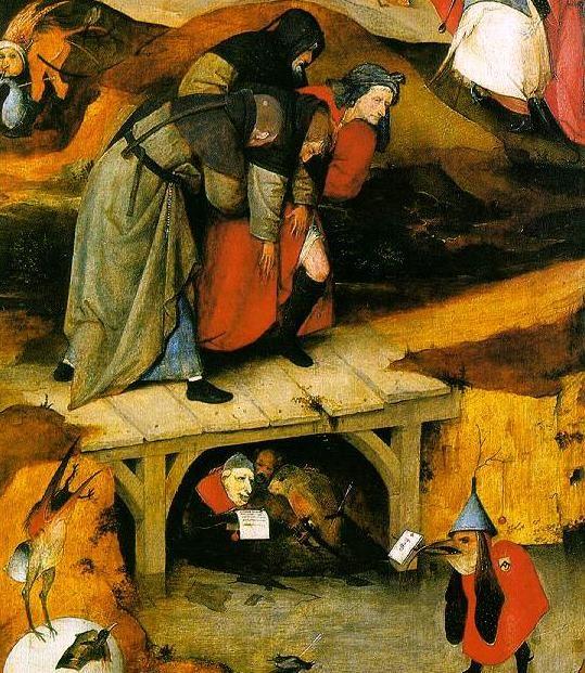Trittico delle Tentazioni di sant'Antonio, dett. pannello sinistro, 1501 ca. - Public Domain via Wikipedia Commons