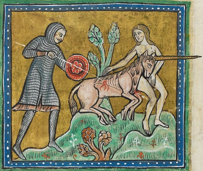 Unicorn_hunt_-_British_Library_Royal_12_F_xiii_f10v - Public Domain