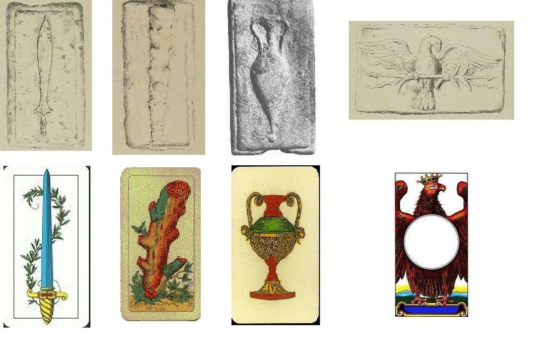"""Assi dei quattro semi confrontati con le figure in rilievo sugli """"aes signatum"""" (public domain, via Wikimedia Commons)."""