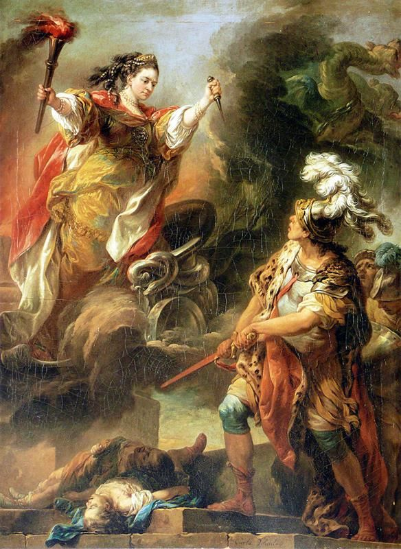 Charles André van Loo - Mlle Clairon en Médée, 1760 - Public Domain via Wikimedia Commons.